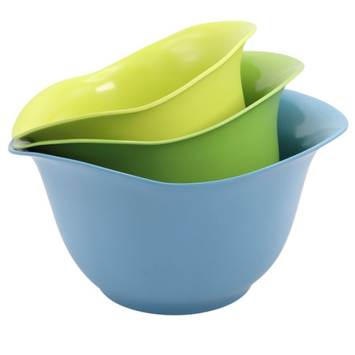 EcoSmart Set of 3 Purelast Mixing Bowls.  In Blue to Green colors on a white background