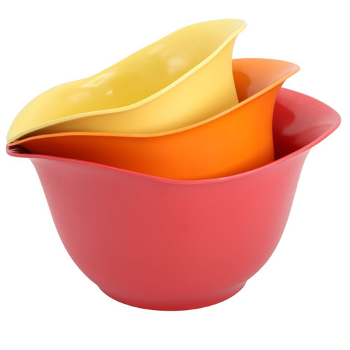 Set of 3 EcoSmart Purelast Mixing Bowls in Red to Yellow colors on a white background
