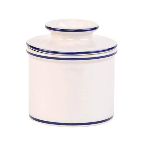 Le Bistro Bell Butter Bell Crock, White with Blue Banding White Background