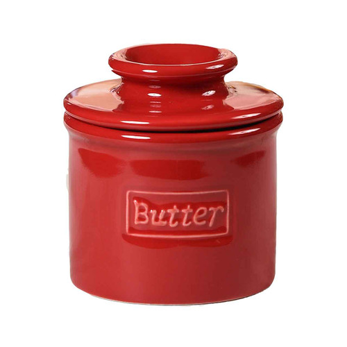 Cafe Retro Butter Bell Crock Maraschino Red Butter White Background