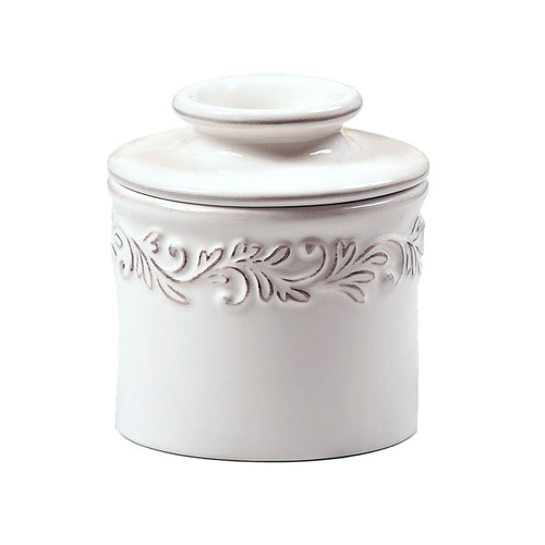 Antique Butter Bell Crock, White Linen