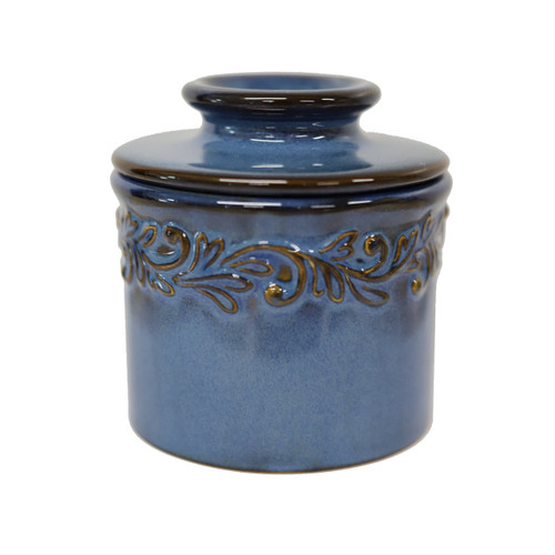 Antique Butter Bell Crock, Blue Denim