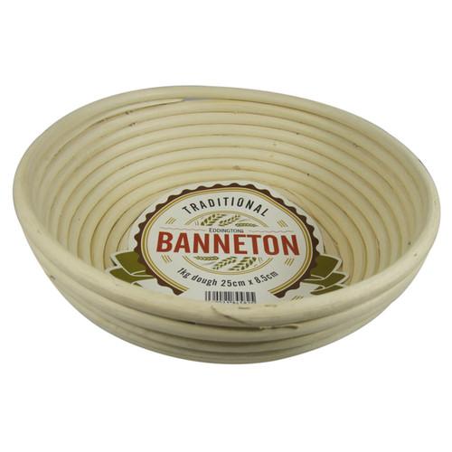 Eddingtons round banneton basket 10x3-inches on a white background