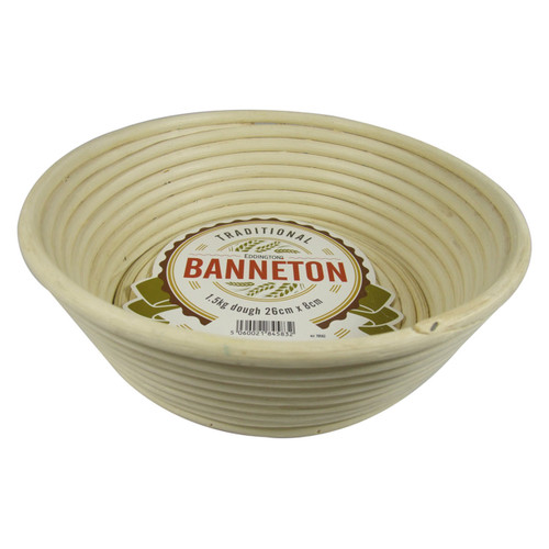 Eddingtons round Banneton Basket with straight angles sides 10x3 Inches on a white background