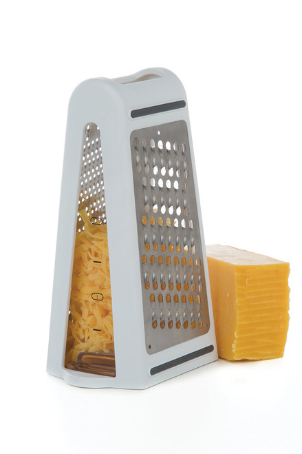Prep Solutions 2 Way Grate & Measure standing with cheese