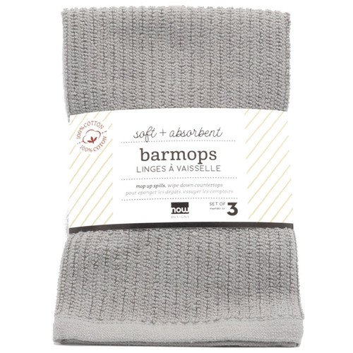 Bar Mop Kitchen Towels in London Gray Set of 3  in packaging on a white background
