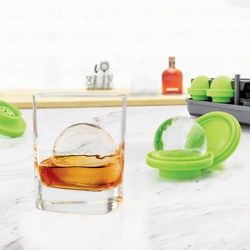 Tovolo Sphere Clear Ice System Set of 4 In Use.  Sphere in a Glass