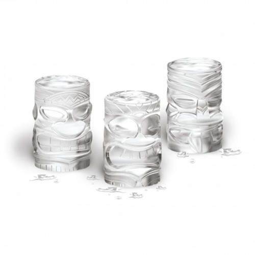 Ice tikis made with the Tovolo Tiki Ice Molds on a white background