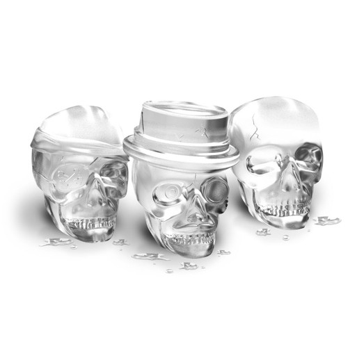 Ice skulls made in Tovolo Skull Ice Molds on a white background