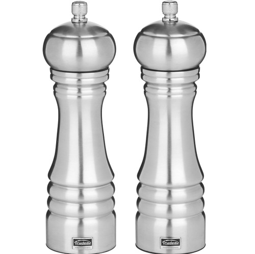 Trudeau 8-Inch Professional Pepper Mill & Salt Mill Stainless Steel on white background