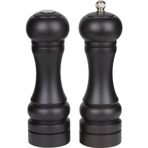 Trudeau 6-Inch Seville Pepper Mill & Salt Shaker, Espresso Stained Wood on white background without packaging