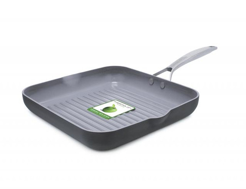 GreenPan Paris Pro 11-Inch Square Grillpan with Spout with packaging
