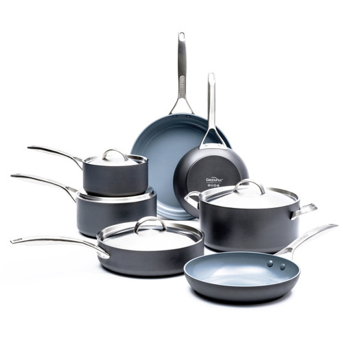 GreenPan Paris Pro 11 Piece Cookware Set with white background