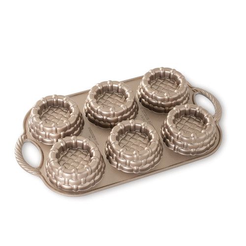 Nordic Ware Shortcake Baskets Pan Toffee on a white background