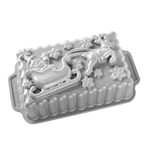 Nordic Ware Santa's Sleigh Loaf Pan Sparkling Silver on a white background design side up