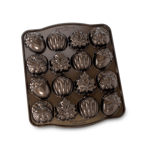 Nordic Ware Autumn Cakelet Pan in Bronze bottom view of pan on white background