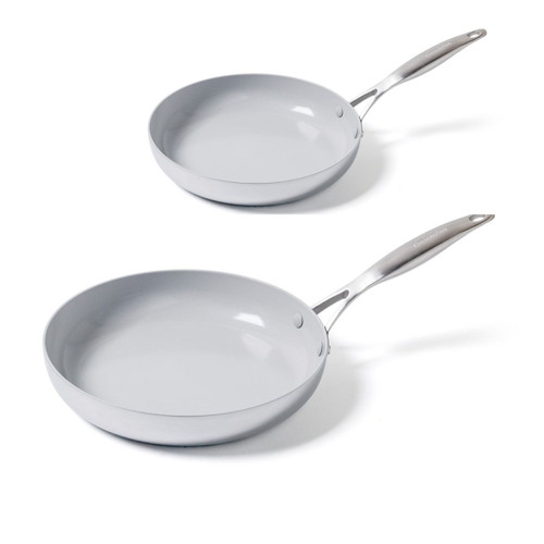 GreenPan Venice Pro 10 Inch and 12 Inch Frypans on a white background