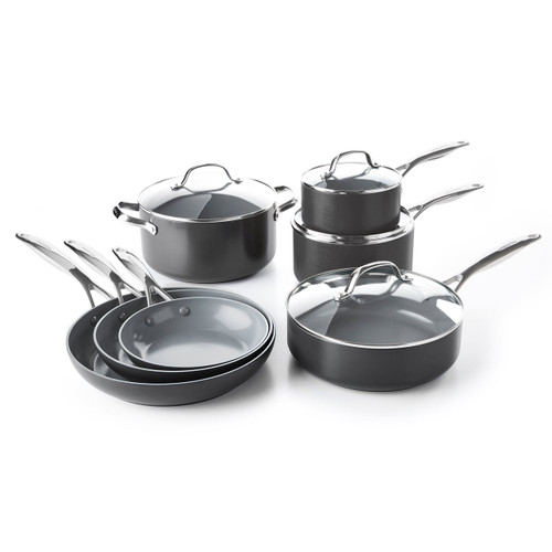GreenPan Valencia Pro 11 Piece Cookware Set on a white background