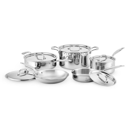 Heritage Steel 10 Piece Cookware Set on a white background