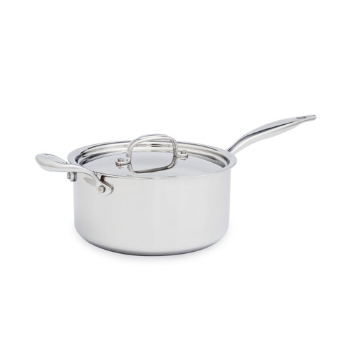 Heritage Steel 4 Quart Saucepan With Lid on a white background