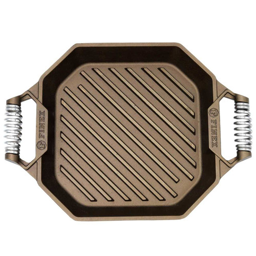 Overhead view of a FINEX 12-Inch Cast Iron Grill Pan on a white background.