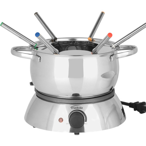 Trudeau Alto 3 In 1 Electric Fondue Set on a white background set up for meat fondue