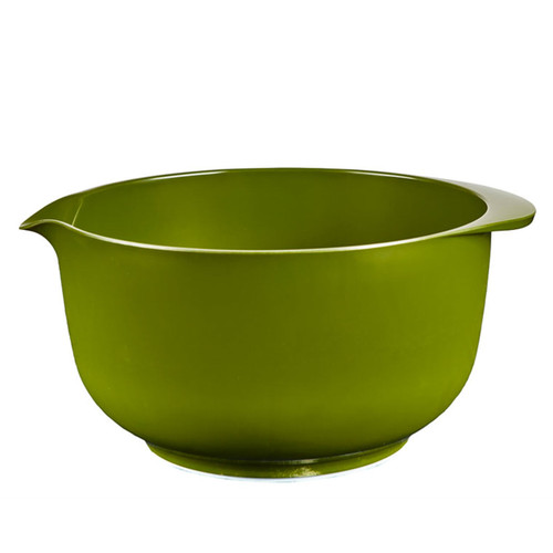 A side shot of the 4L Rosti Margrethe Mixing Bowl in Olive on a white background