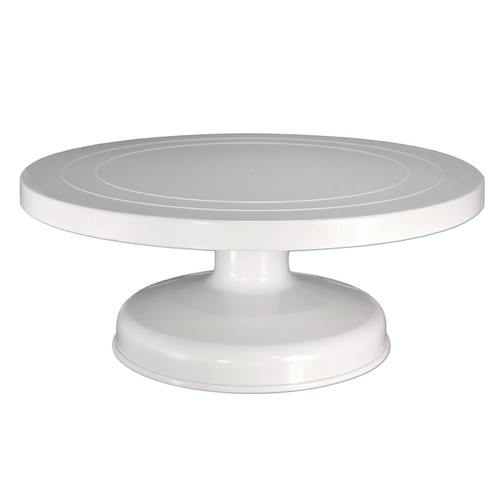 A side view of Fat Daddio's 12x5-inch Cake Decorating Turntable on a white background