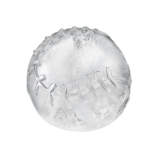An ice baseball made with Tovolo Baseball Ice Molds on a white background