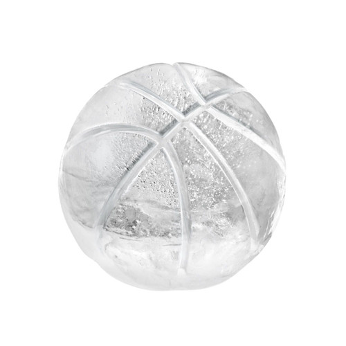 An ice basketball made with Tovolo Basketball Ice Molds on a white background