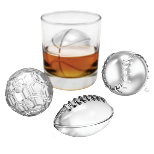 Ice made with Tovolo Sports Balls Ice Molds on a white background
