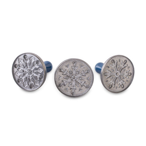 An alternate view of the Nordic Ware Snowflake Cookie Stamps on a white background