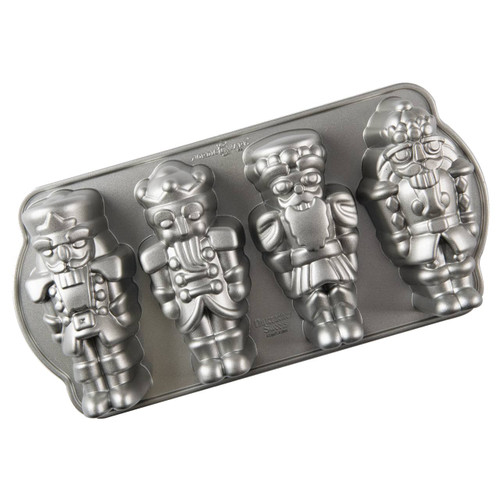 Bottom view of the Nordic Ware Nutcracker Cakelet Pan on a white background