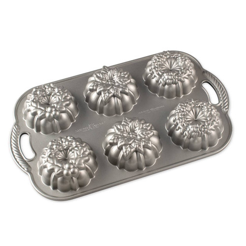 Bottom view of the Nordic Ware Wreathettes Pan on a white background