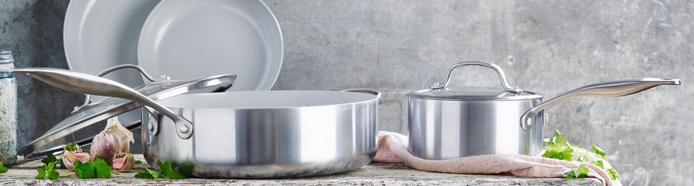 GreenPan Venice Pro Cookware on a counter