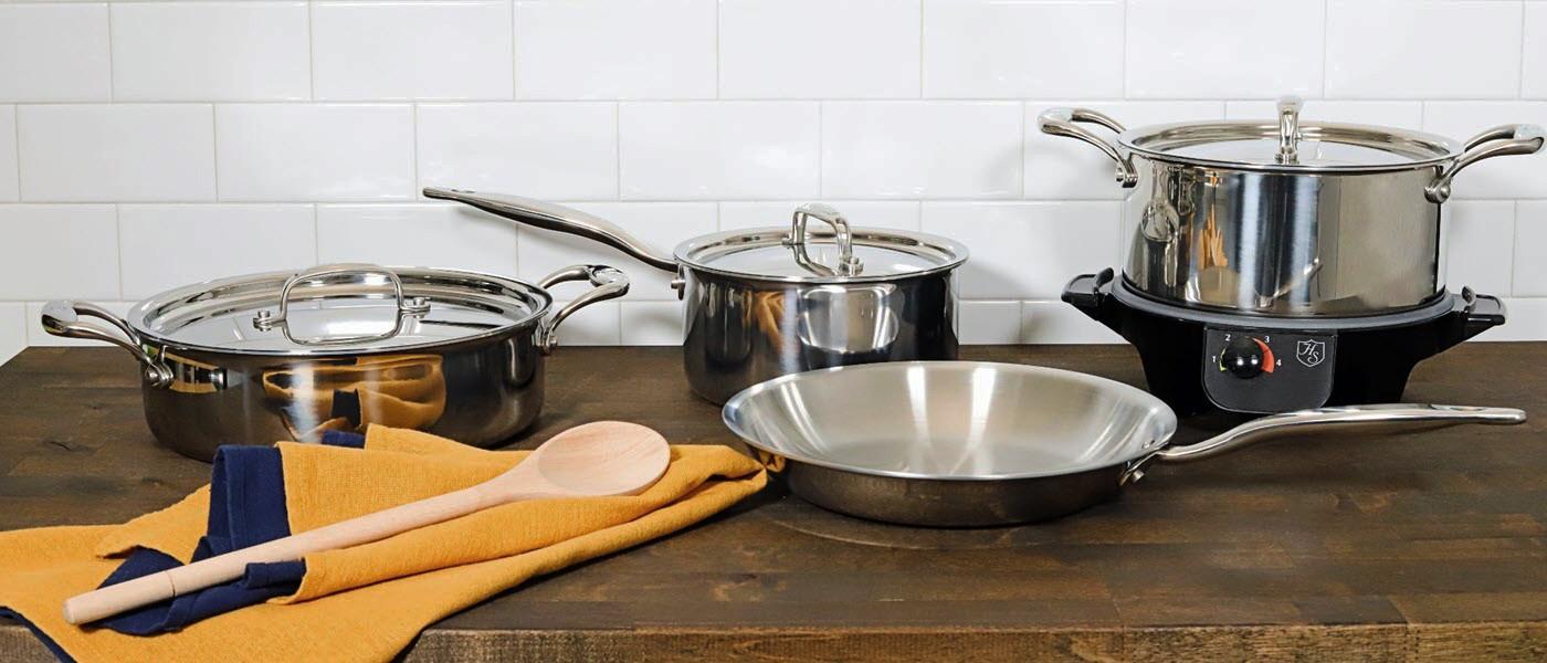 Heritage Steel Cookware on a butcher block countertop