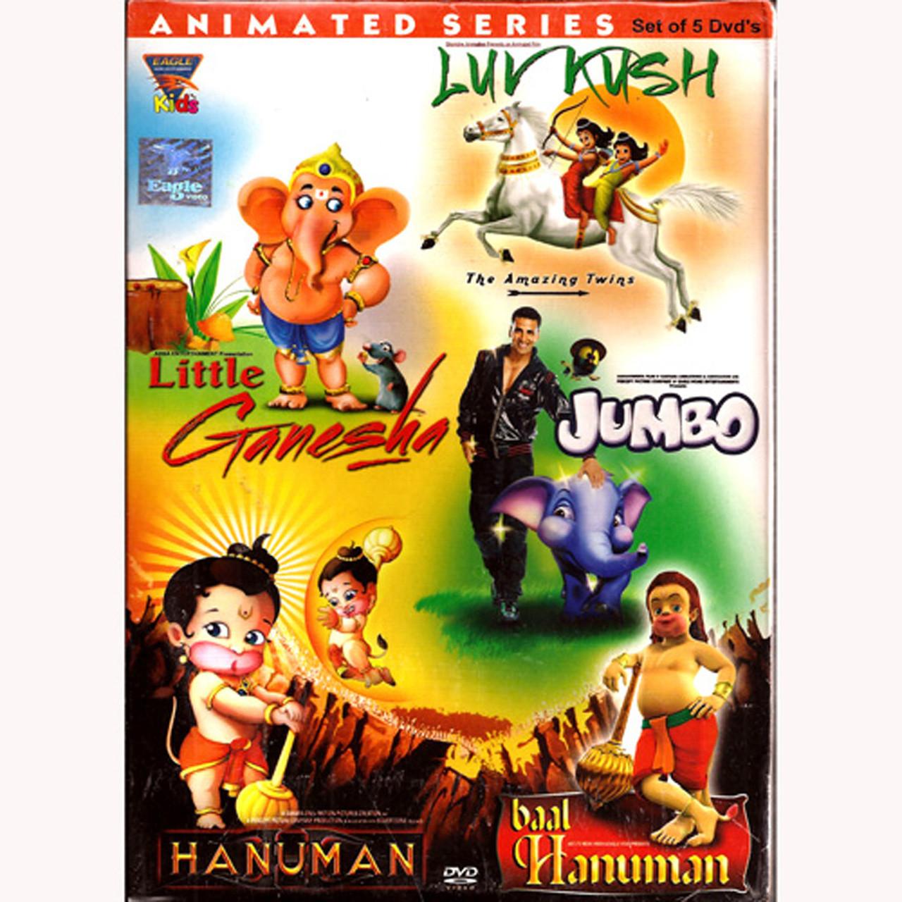 Animated Series Set Of 5 DVDS-Little Ganesha, Luv Kush, Jumbo, Hanuman,  Baal Hanuman