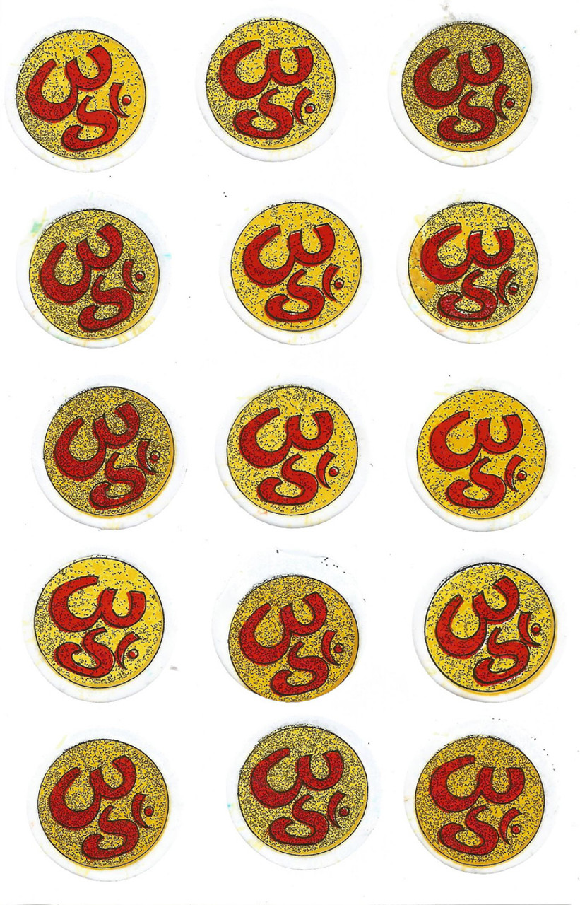 Clear Glitter Aum Stickers Sheet Of 15