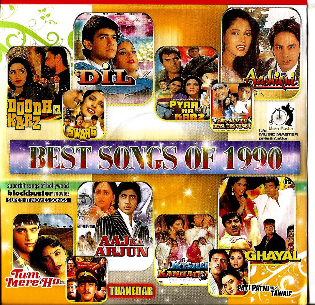 India Bollywood Music Best Songs of 1990- Crystal Clear Recordings 100 Vary  Nice Songs/ MP3