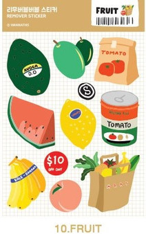 Removable Bubble Sticker - 10 FRUIT