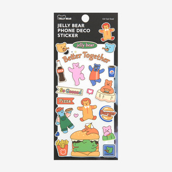 Jelly Bear Phone Deco Sticker - 04 Fast food
