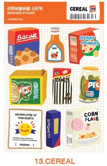 Removable Bubble Sticker - 13 CEREAL
