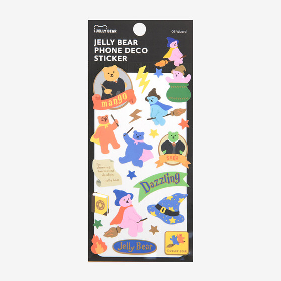 Jelly Bear Phone Deco Sticker - 03 Wizard