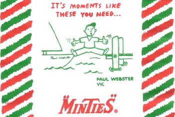 Iconic Minties waxed paper wrapper with cartoon