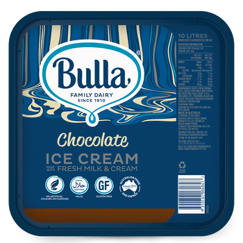 Bulla Real Dairy Chocolate Ice Cream 10 Litre  Lid View