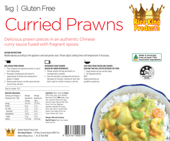 Rice King Curried Prawn Spec Sheet