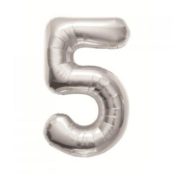 Foil Balloon Number 5 Silver    90cm - Anagram