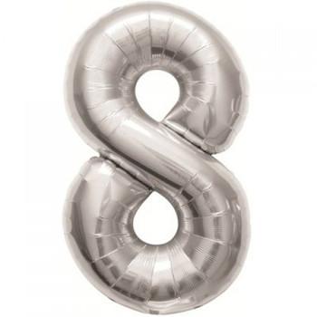 Foil Balloon Number 8 Silver    90cm - Anagram