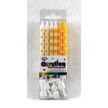 Candles Dots & Stripes Yellow 12Pk