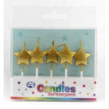 Candle Stars Gold Glitter 5Pk